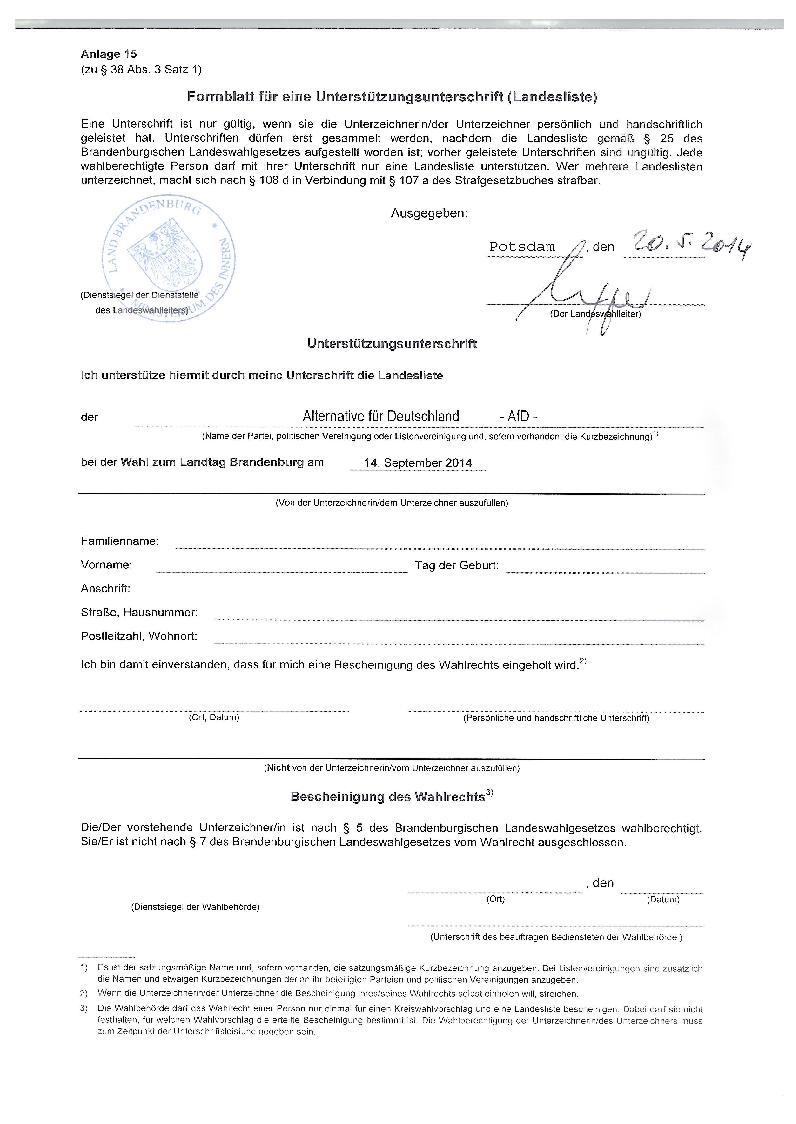 Landtagswahl 2014 st tzunterschriften gebraucht for Atmender deckel