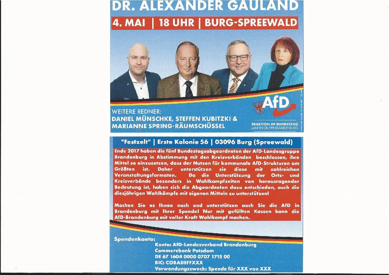 Wahlkampfveranstaltung in Burg