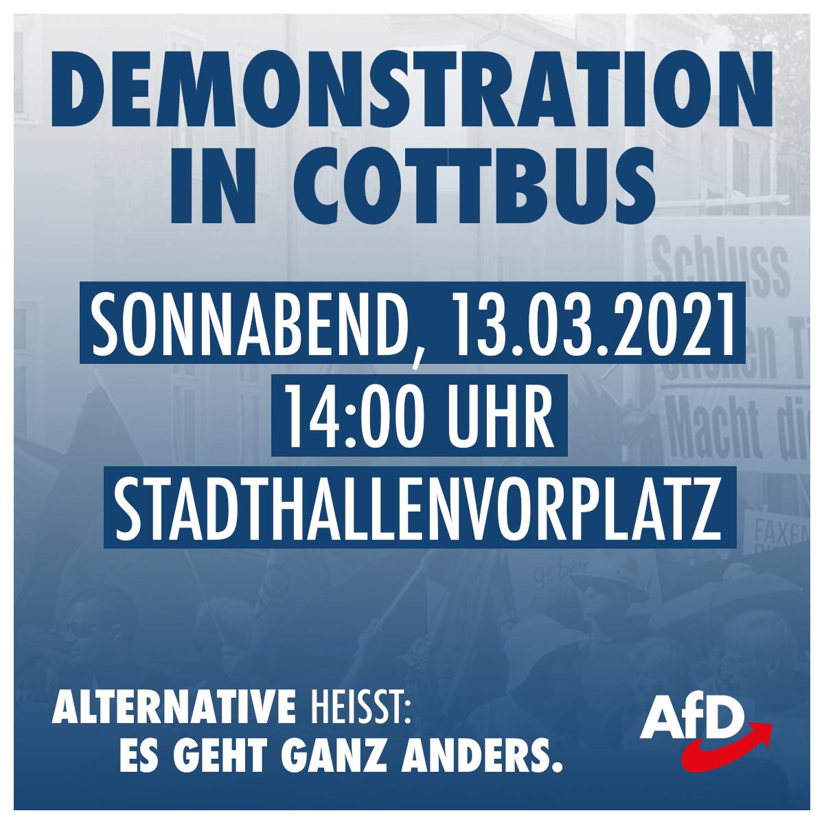 Aufruf zur Demonstration in Cottbus